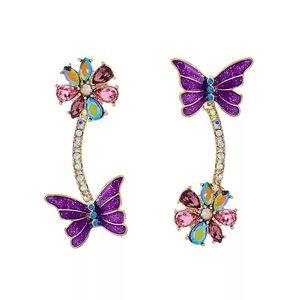 Topsey Turvey Butterfly Rhinestone Earrings
